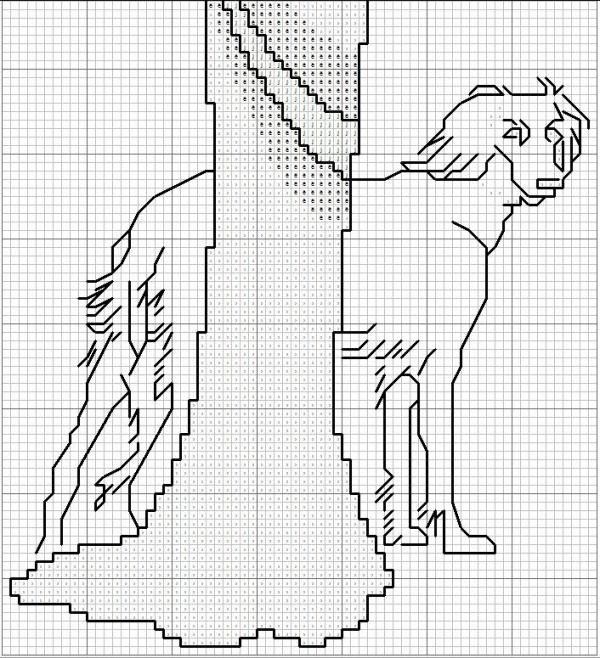 Схема для вышивки крестом дамы с собакой