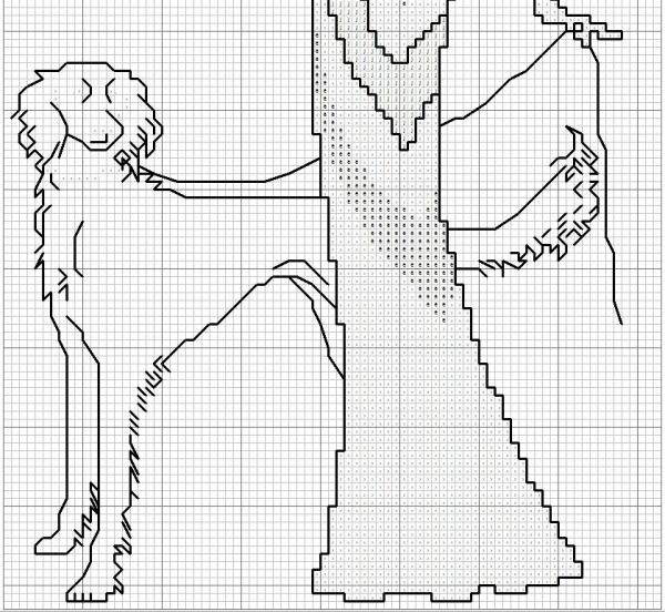 Схема для вышивки леди с собакой на прогулке