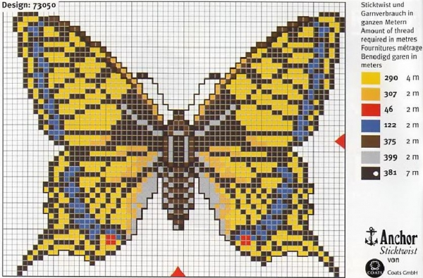 Схема и ключ для вышивки бабочки