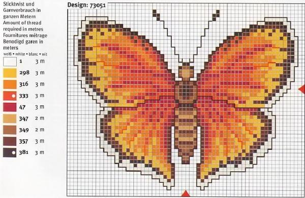 Схема и ключ для вышивки крестом бабочки