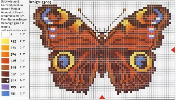 Схема и ключ вышивки бабочки