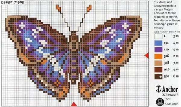 Схема и ключ вышивки крестом бабочки