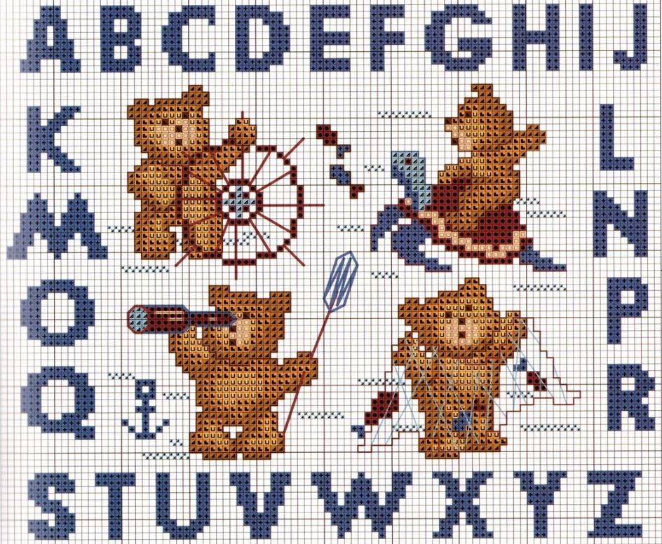 Схема вышивки крестом алфавита