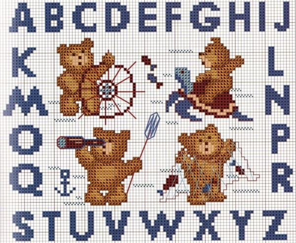 Схема вышивки крестом алфавита с медведями