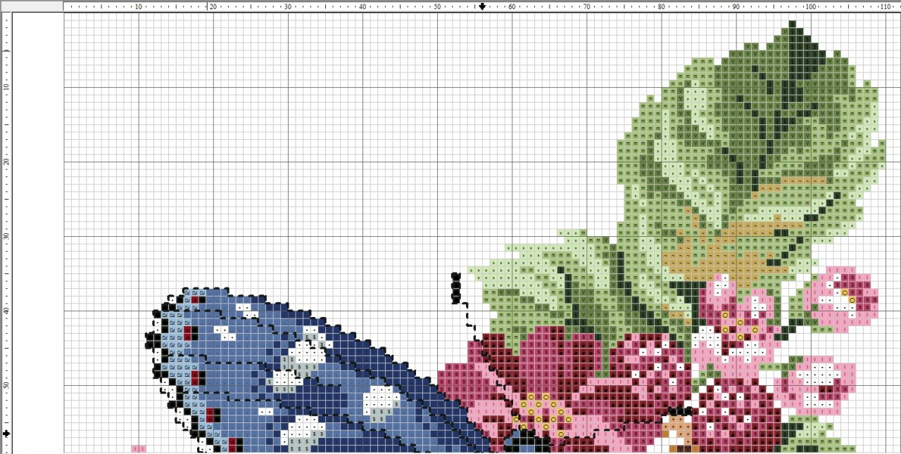 Схема вышивки синей бабочки