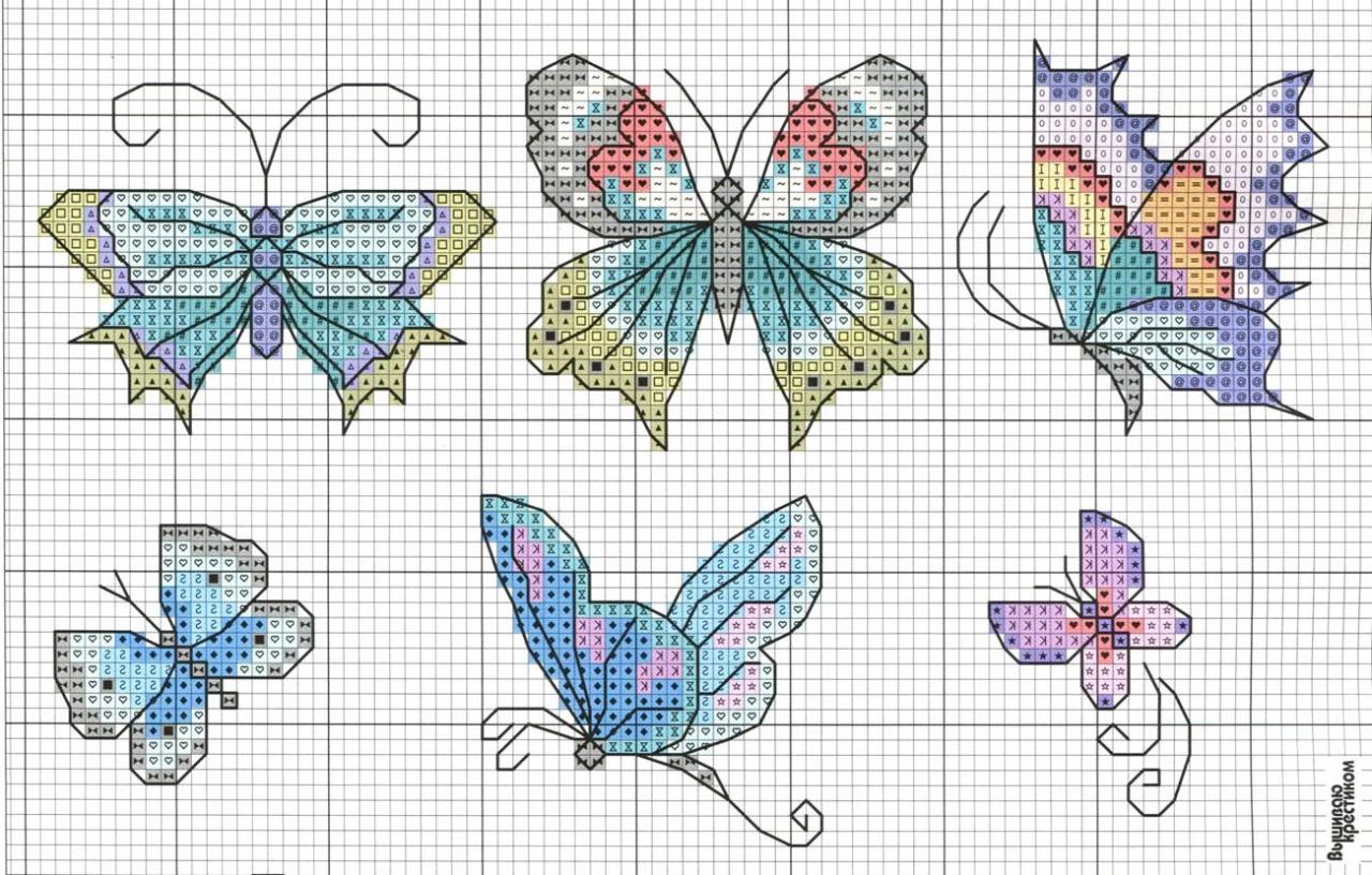 Вышивка с бабочками фото 51