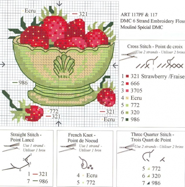 Схема и ключ к вышивке чашки с земляникой