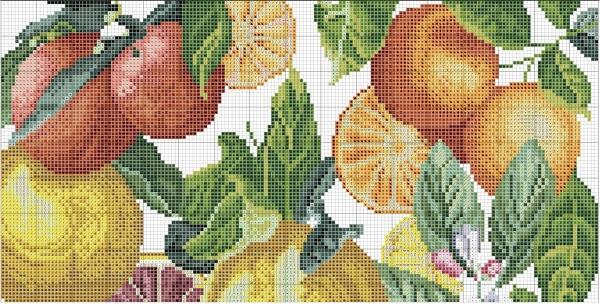 Схема вышивки крестом цитрусовых