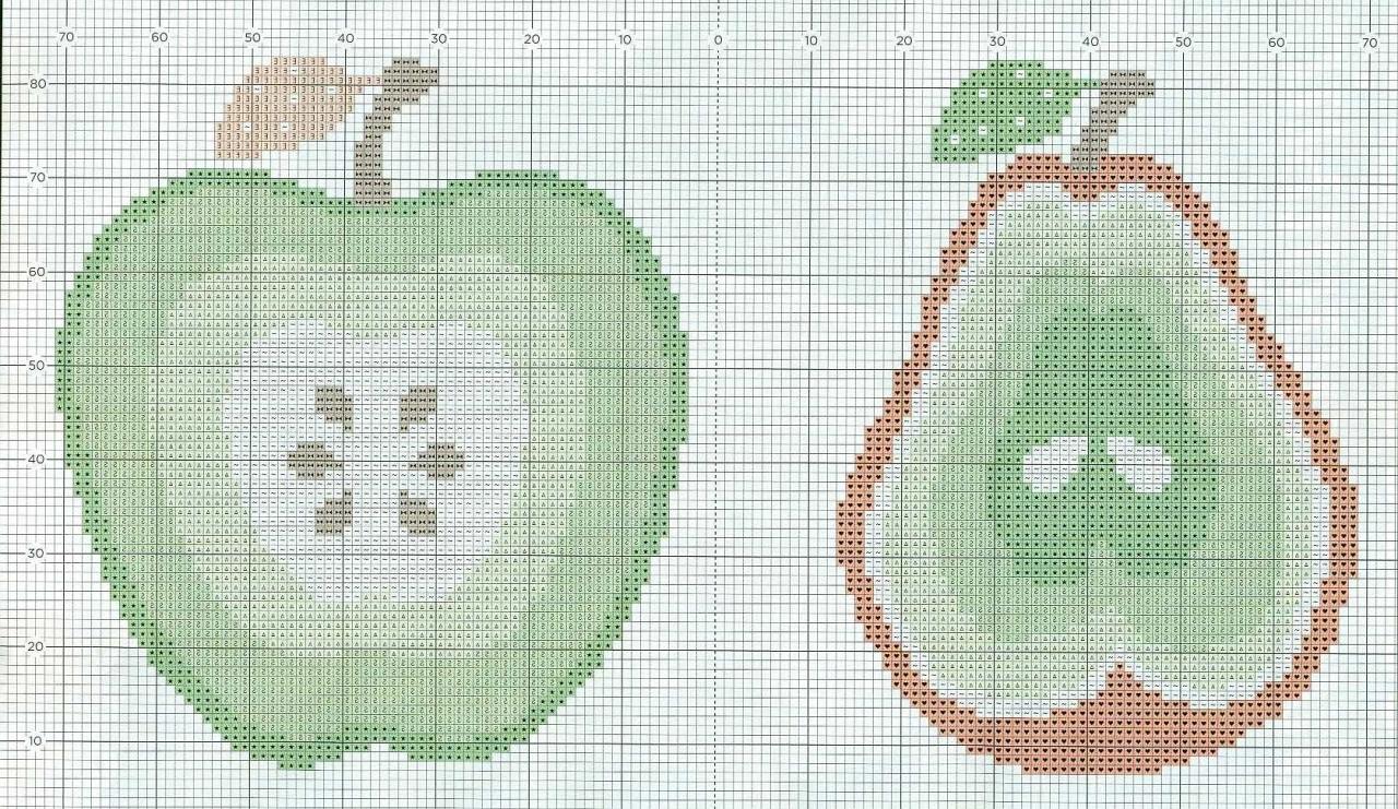схемы вышивки крестом яблока