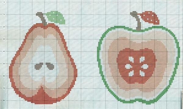 Схема вышивки яблок и груш на сумке