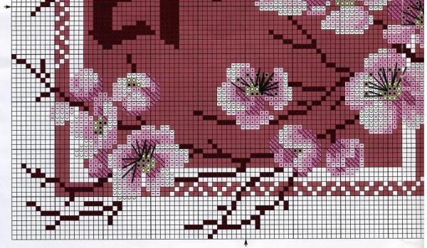 Схема для вышивки крестом сакуры