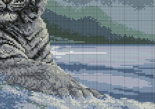 Схема для вышивки крестом тигра на снегу