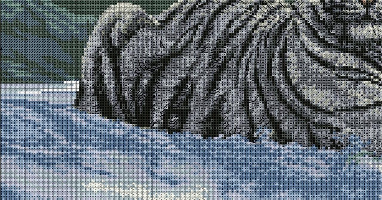 Вышивка крестом тигр на снегу