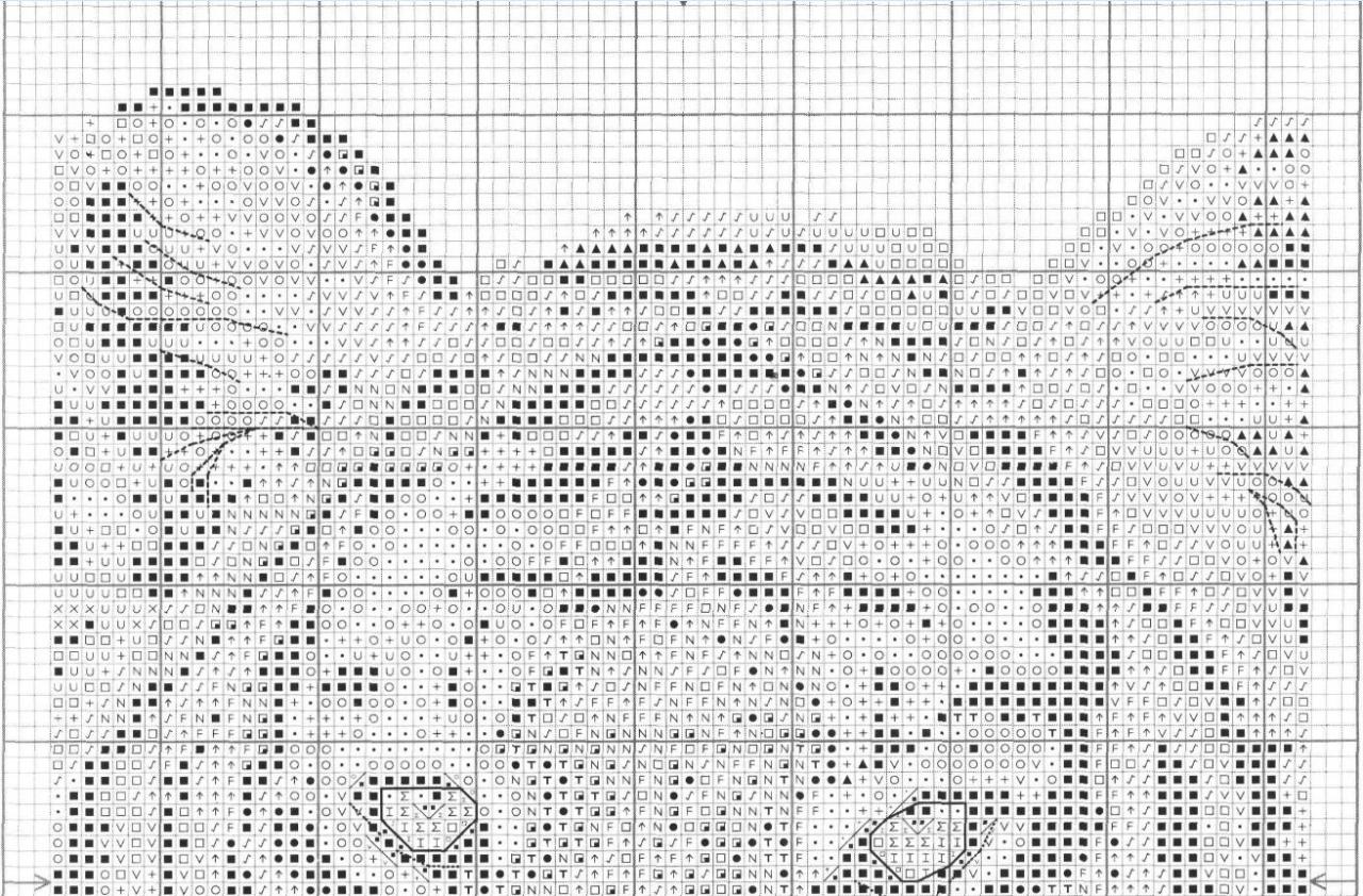 Схема вышивки крестом Тигр на черном 74