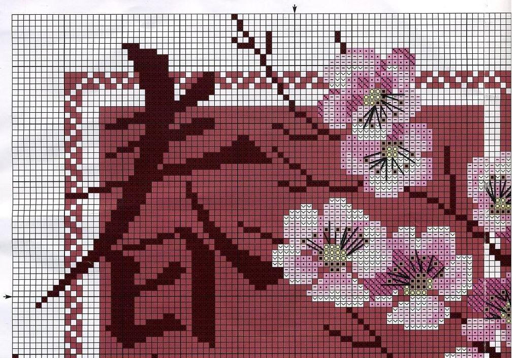 Схема вышивки крестом сакуры
