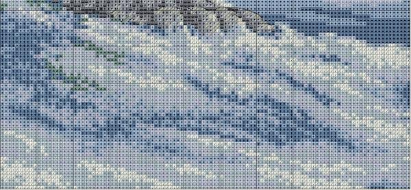 Схема вышивки крестом сибирского тигра на снегу