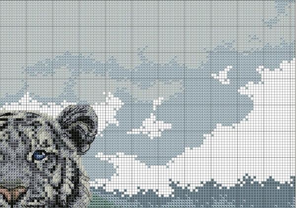 Схема вышивки тигра на снегу