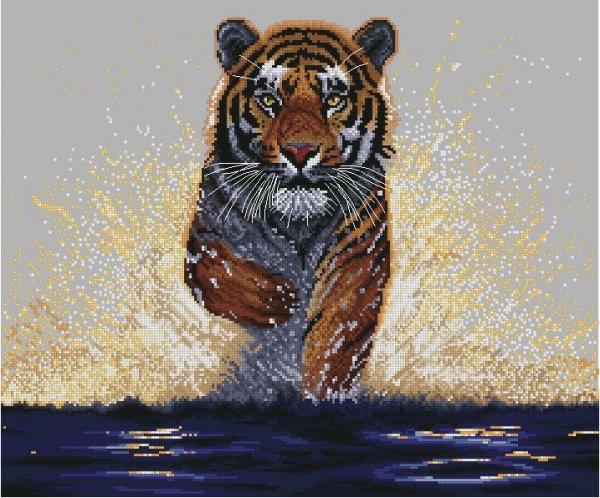 Тигр в брызгах воды