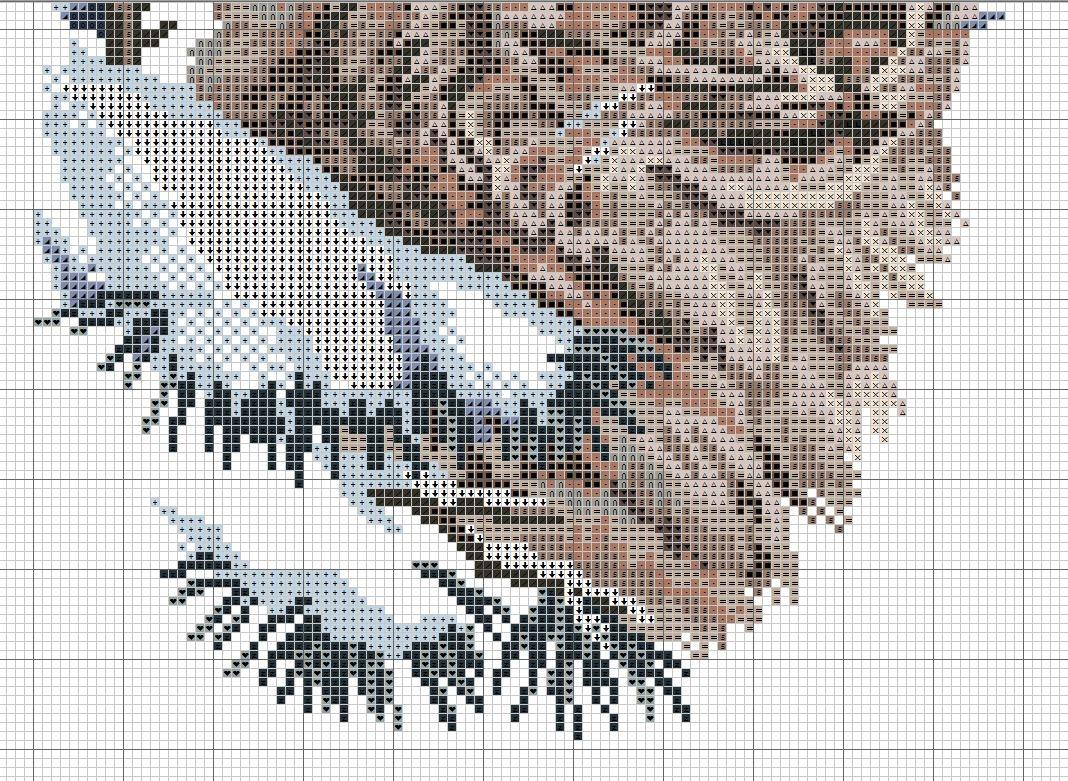 Схема вышивки крестом рыси