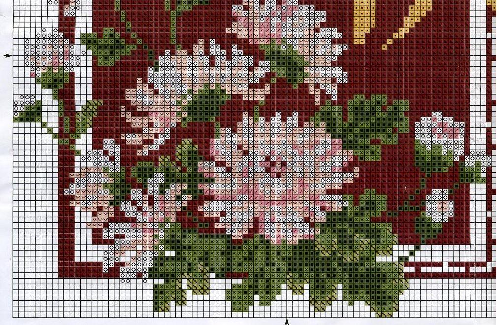 Вышивка хризантем крестиком
