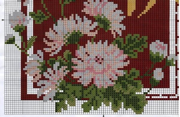 Схема для вышивки крестом хризантемы