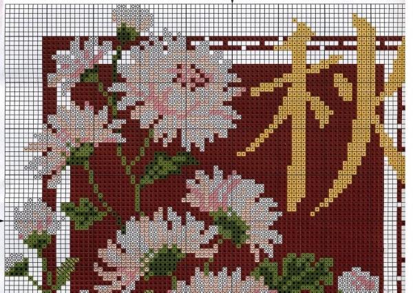 Схема вышивки крестом хризантемы
