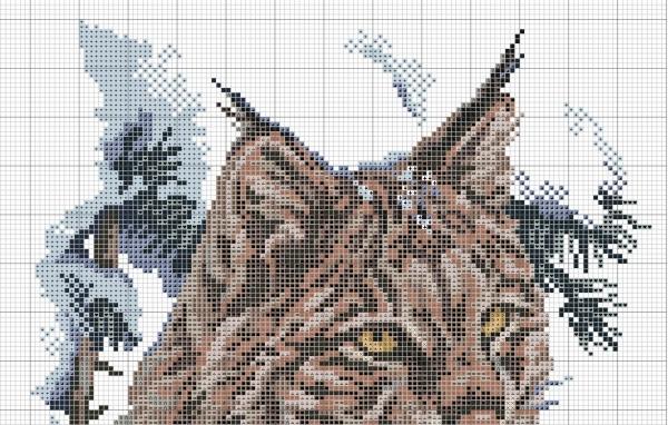 Схема вышивки крестом рысь