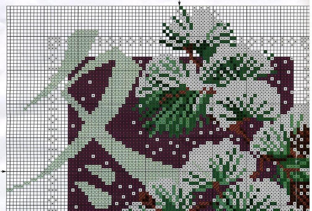 Схема вышивки крестом сосны
