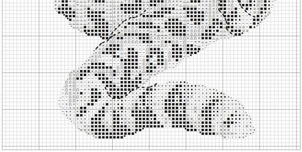 Схема для вышивки крестом леопарда на темной канве