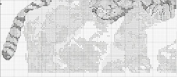Схема для вышивки крестом тигра на скале