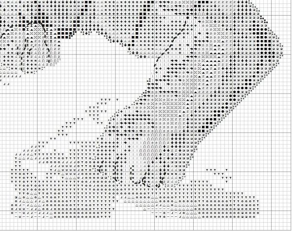 Схема для вышивки тигра на скале