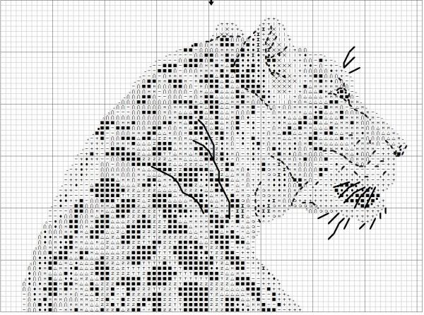 Схема вышивки крестом леопарда на темной канве
