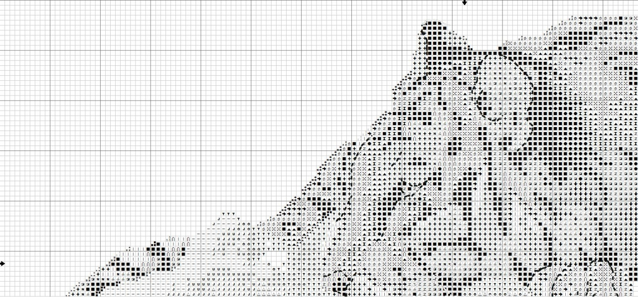Схема вышивки крестом тигра на