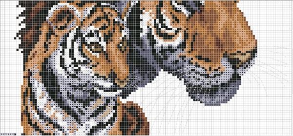 Схема для вышивки крестом тигра и тигренка