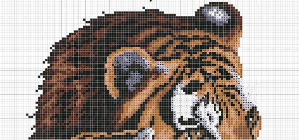 Схема вышивки крестом тигра и тигренка