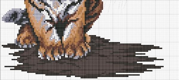 Схема вышивки тигра и тигренка
