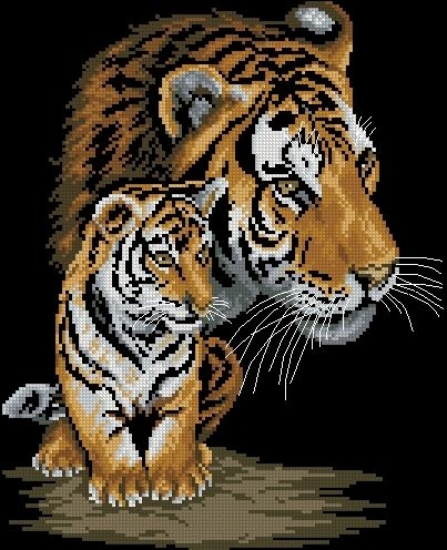 схемы вышивки тигр крестом