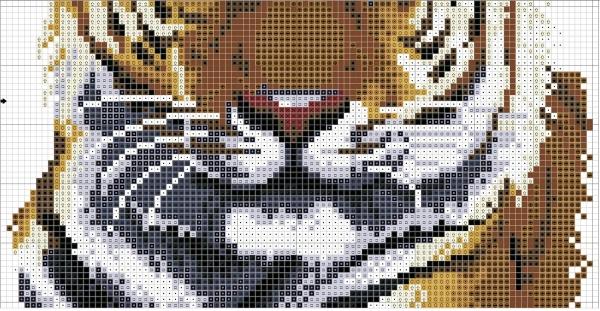 Схема для вышивки крестом тигра