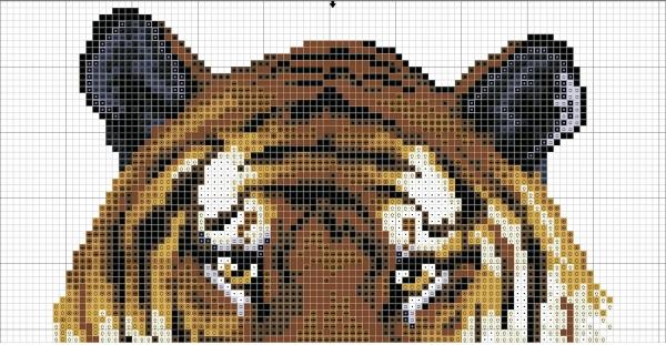 Схема вышивки крестом тигра