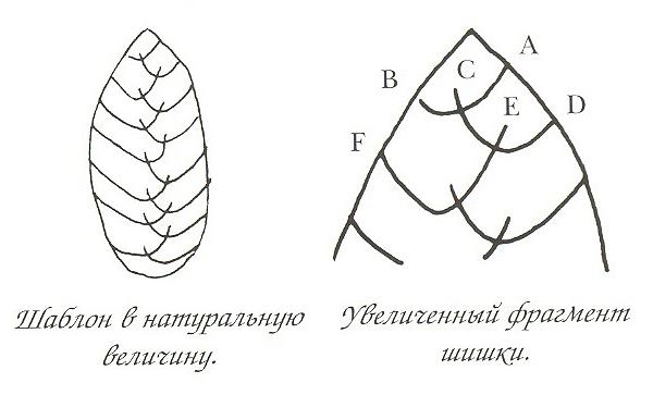 Схема вышивки лентами шишки