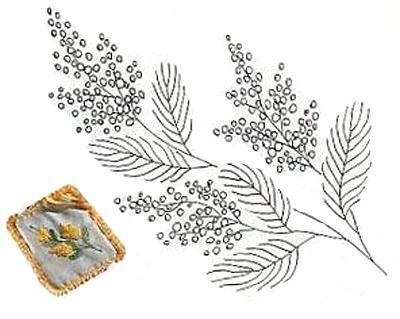 Веточка мимозы схема вышивки