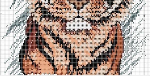 Схема для вышивки крестом тигра на фоне