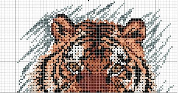 Схема вышивки крестом тигра на серо-голубом фоне
