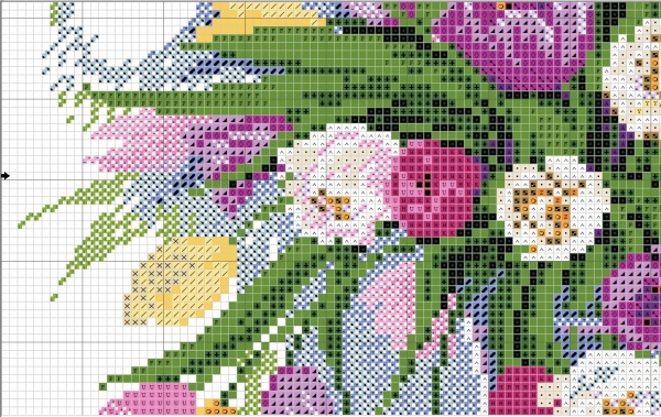 Схема для вышивки акварельных тюльпанов
