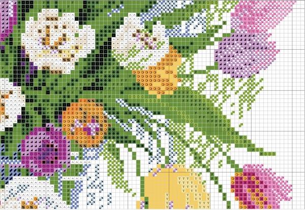 Схема для вышивки крестом акварельных тюльпанов