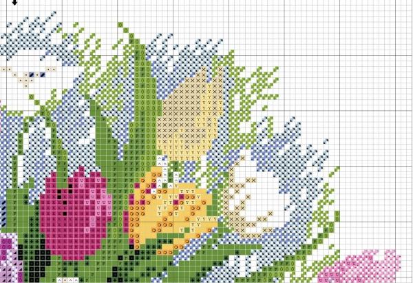 Схема вышивки акварельных тюльпанов