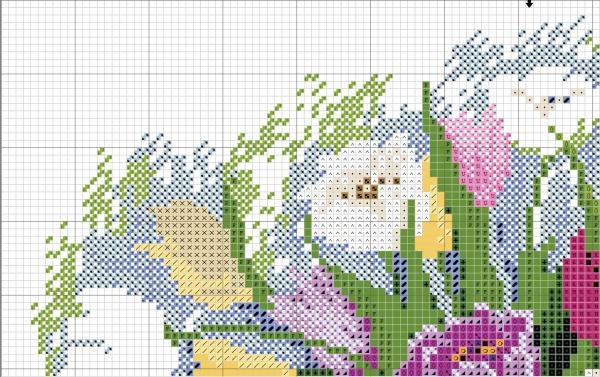 Схема вышивки крестом акварельных тюльпанов