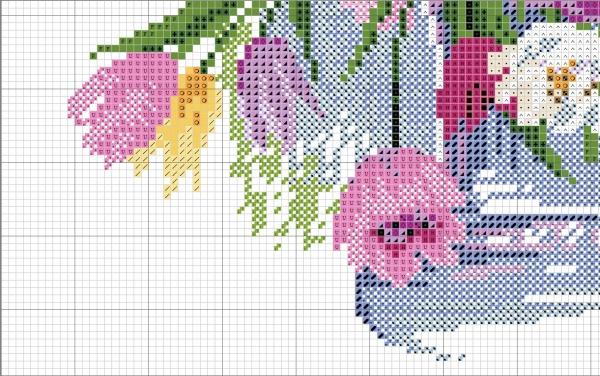 Схема вышивки крестом тюльпанов акварельных