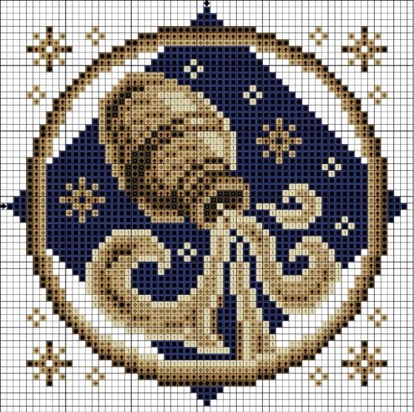 Схема вышивки крестом Водолей знак Зодиака
