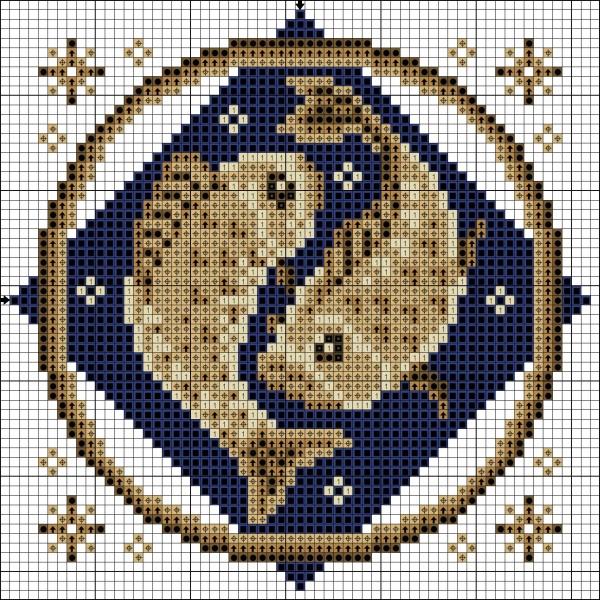 Схема вышивки крестом Рыбы знак Зодиака